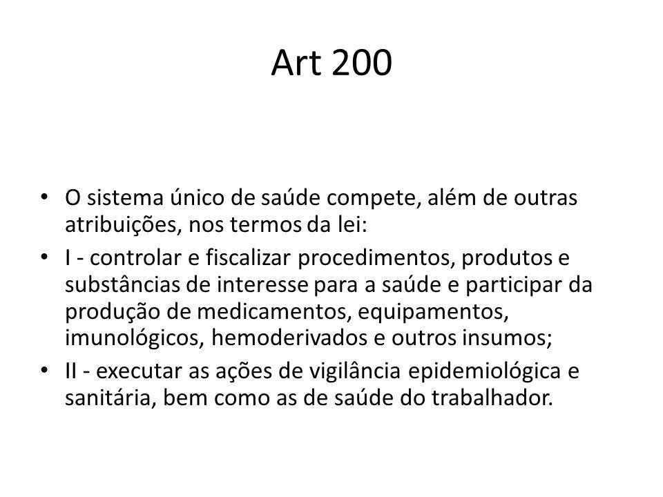Art 200 O sistema único de saúde compete, além de outras atribuições, nos termos da lei: