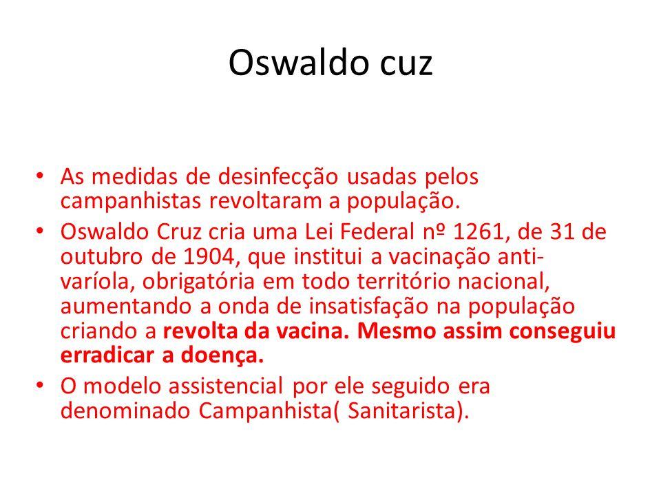 Oswaldo cuz As medidas de desinfecção usadas pelos campanhistas revoltaram a população.