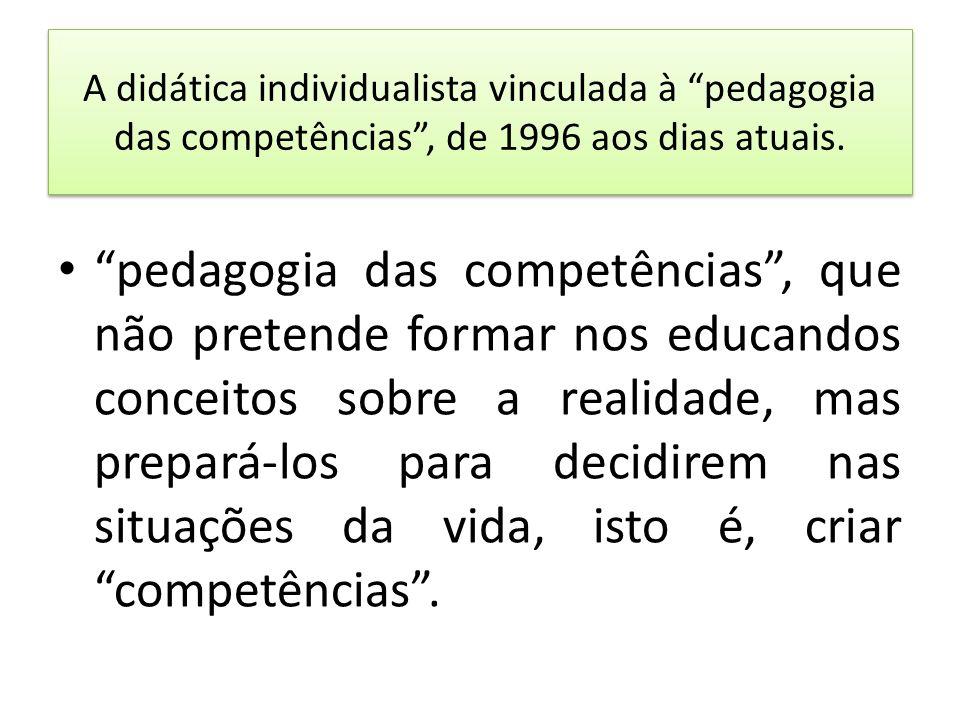 A didática individualista vinculada à pedagogia das competências , de 1996 aos dias atuais.