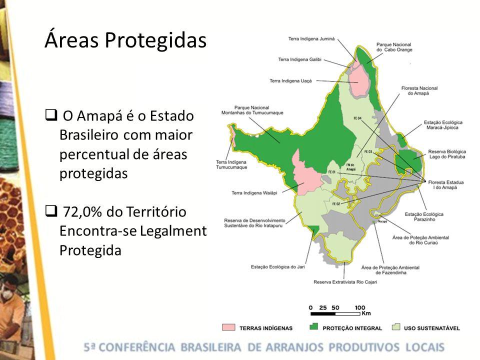 Áreas Protegidas O Amapá é o Estado Brasileiro com maior percentual de áreas protegidas.
