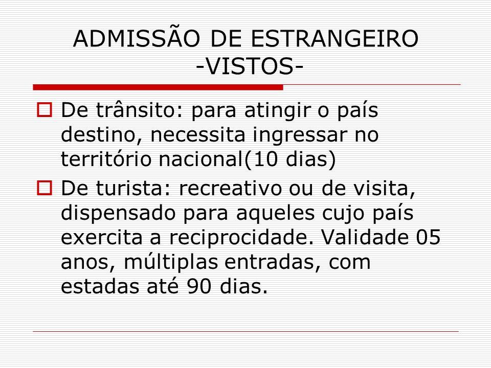 ADMISSÃO DE ESTRANGEIRO -VISTOS-
