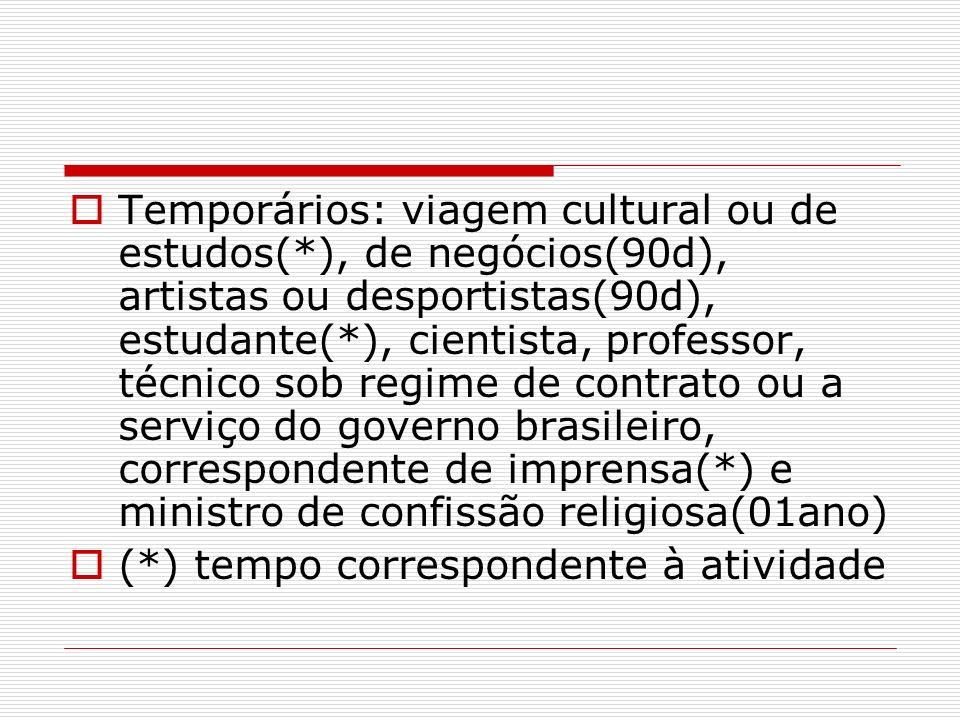 Temporários: viagem cultural ou de estudos(