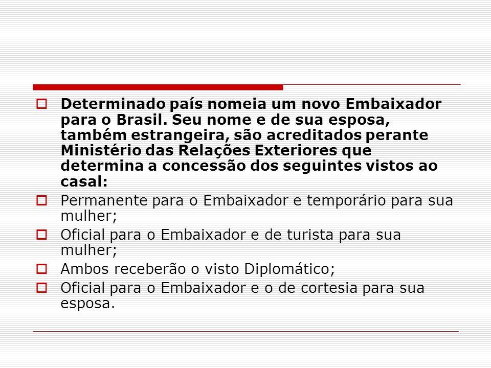 Determinado país nomeia um novo Embaixador para o Brasil