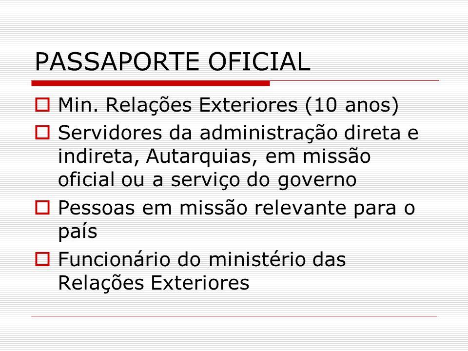 PASSAPORTE OFICIAL Min. Relações Exteriores (10 anos)