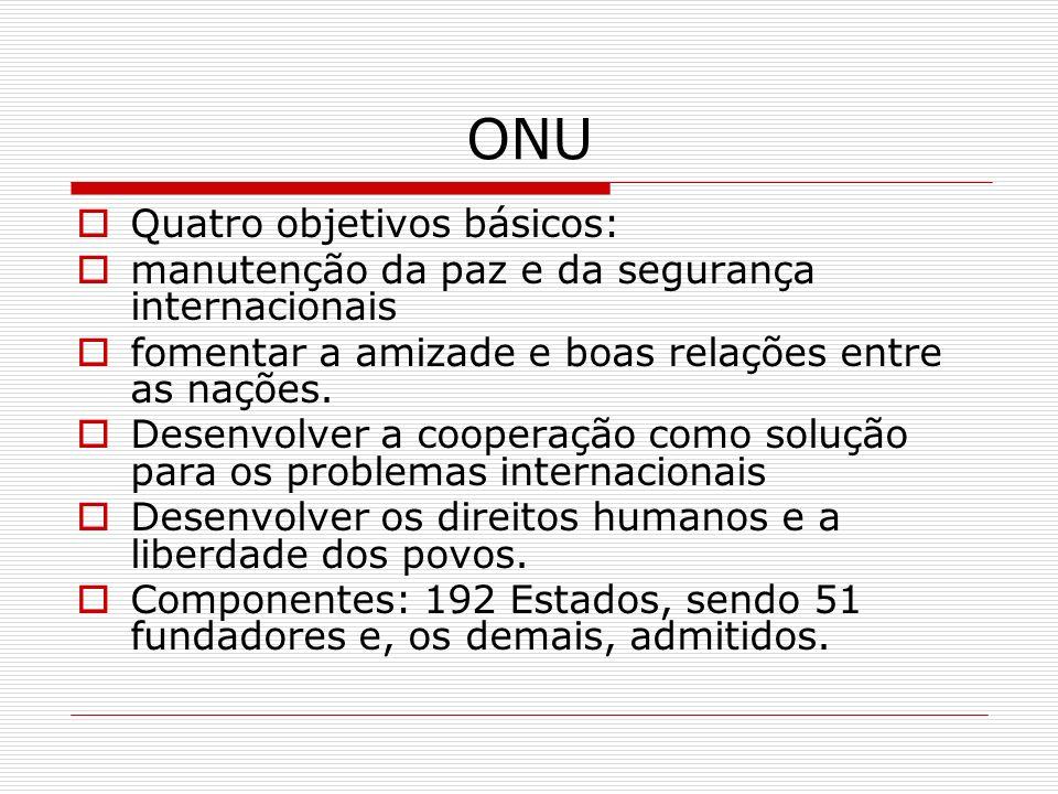 ONU Quatro objetivos básicos: