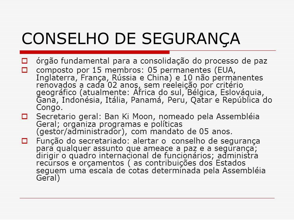 CONSELHO DE SEGURANÇA órgão fundamental para a consolidação do processo de paz.