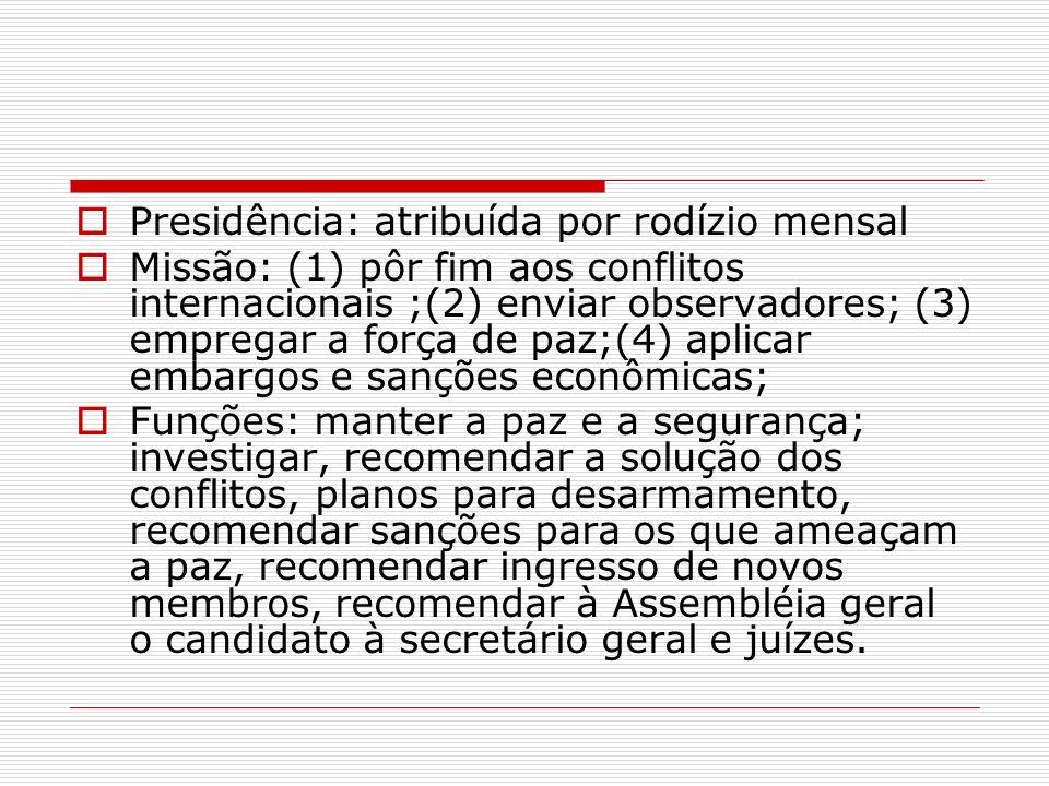 Presidência: atribuída por rodízio mensal