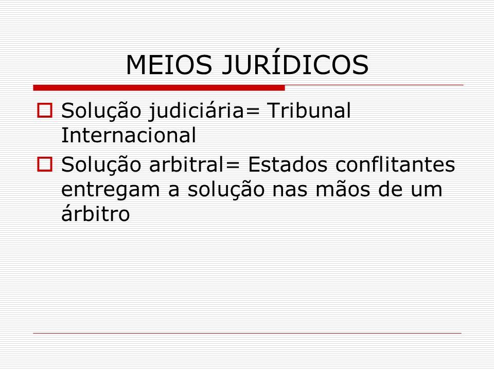 MEIOS JURÍDICOS Solução judiciária= Tribunal Internacional