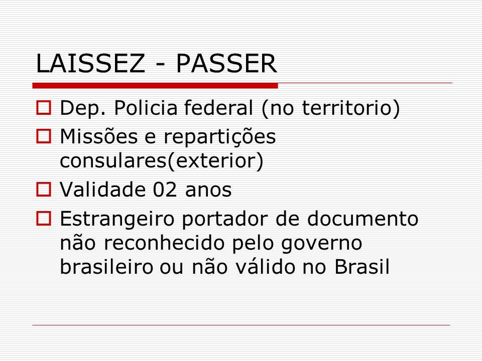 LAISSEZ - PASSER Dep. Policia federal (no territorio)