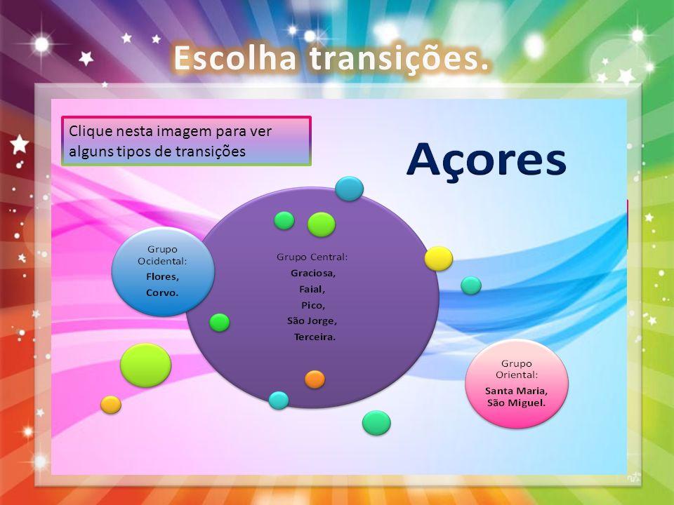Escolha transições. Clique nesta imagem para ver alguns tipos de transições. Tem a opção de escolher a transição.
