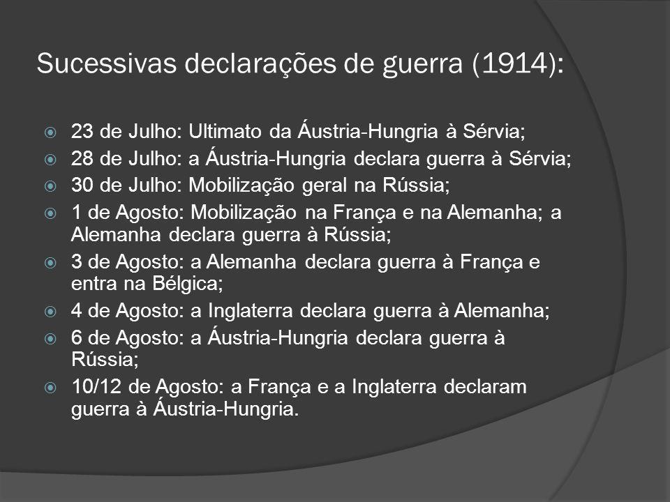 Sucessivas declarações de guerra (1914):