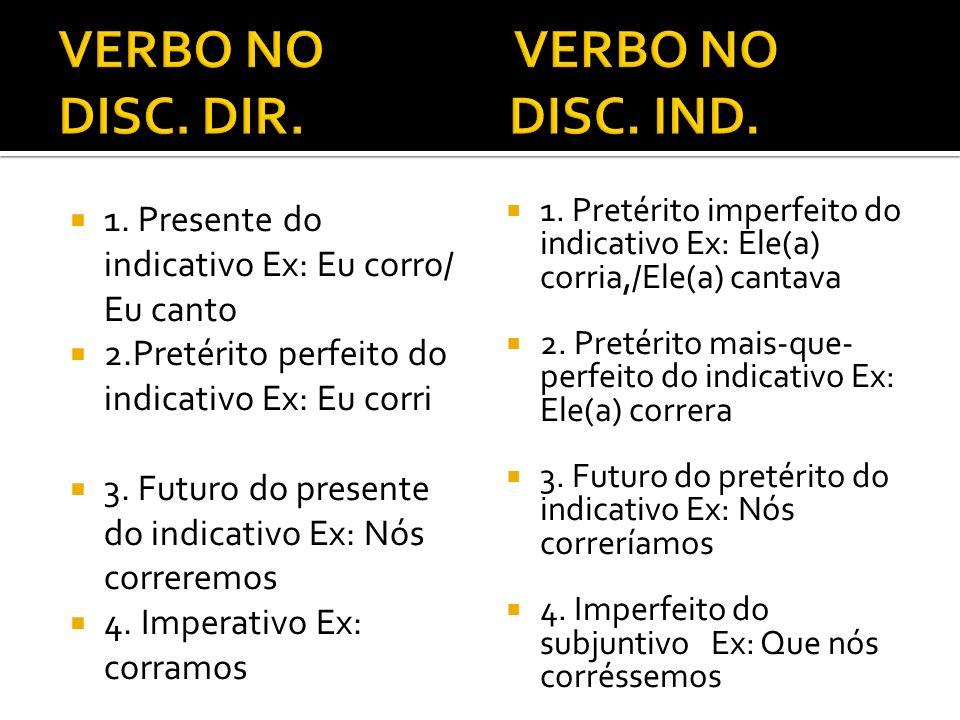 VERBO NO VERBO NO DISC. DIR. DISC. IND.