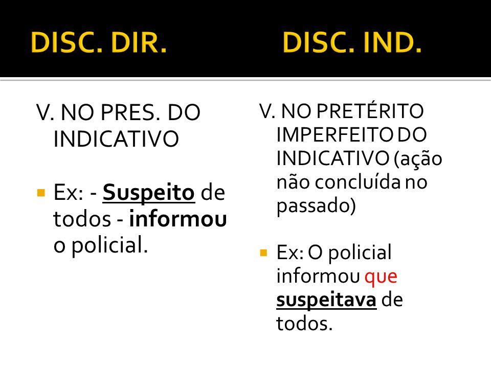 DISC. DIR. DISC. IND. V. NO PRES. DO INDICATIVO