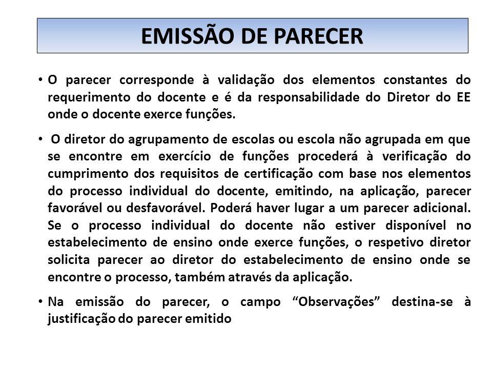 EMISSÃO DE PARECER
