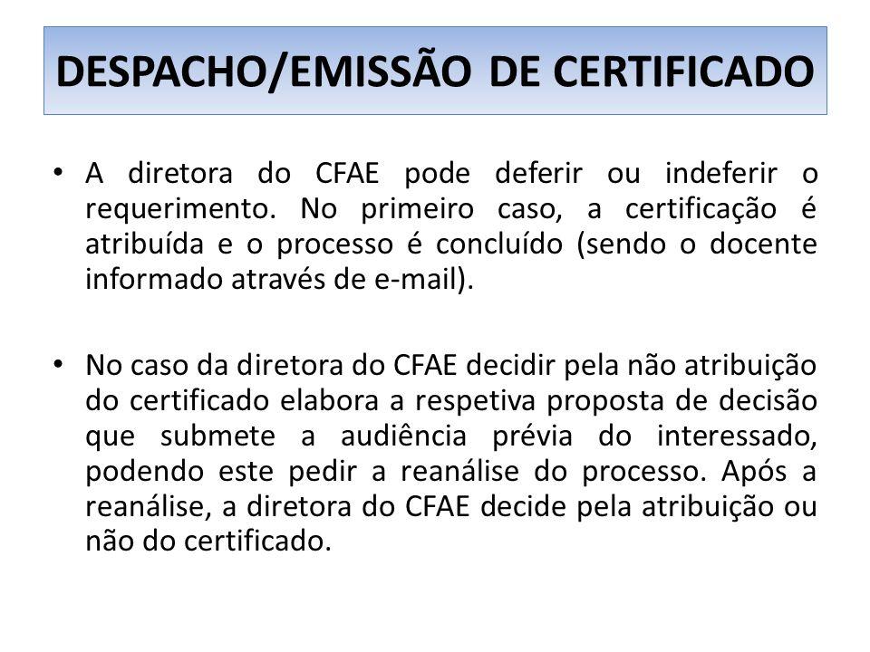 DESPACHO/EMISSÃO DE CERTIFICADO