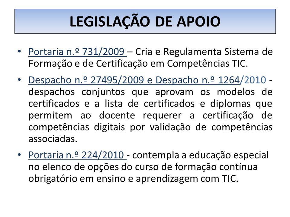 LEGISLAÇÃO DE APOIO Portaria n.º 731/2009 – Cria e Regulamenta Sistema de Formação e de Certificação em Competências TIC.