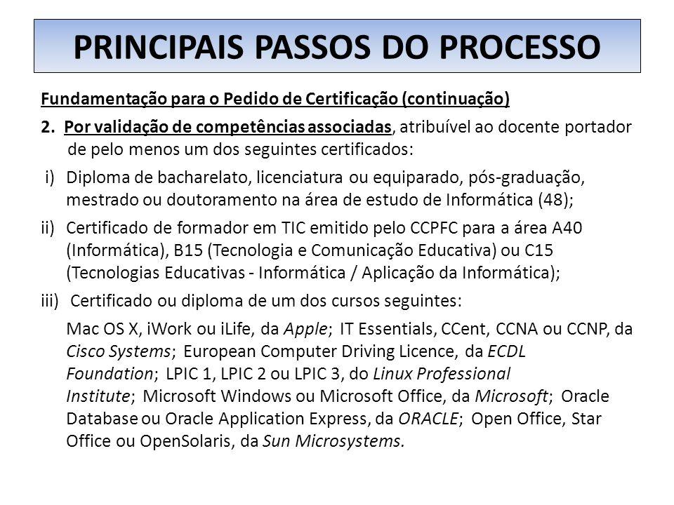 PRINCIPAIS PASSOS DO PROCESSO