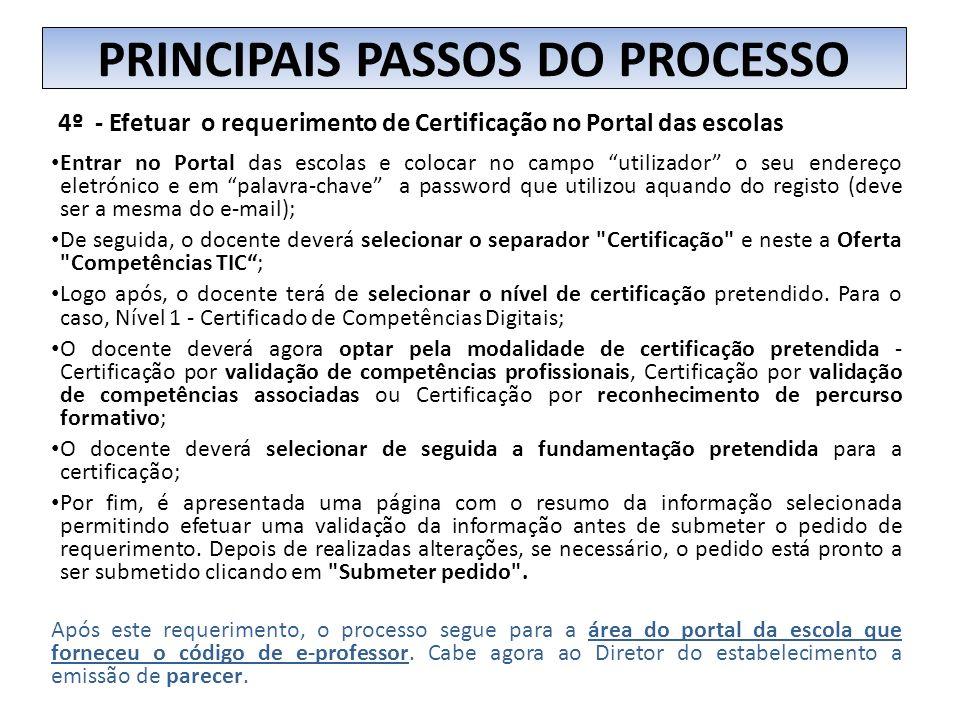 4º - Efetuar o requerimento de Certificação no Portal das escolas