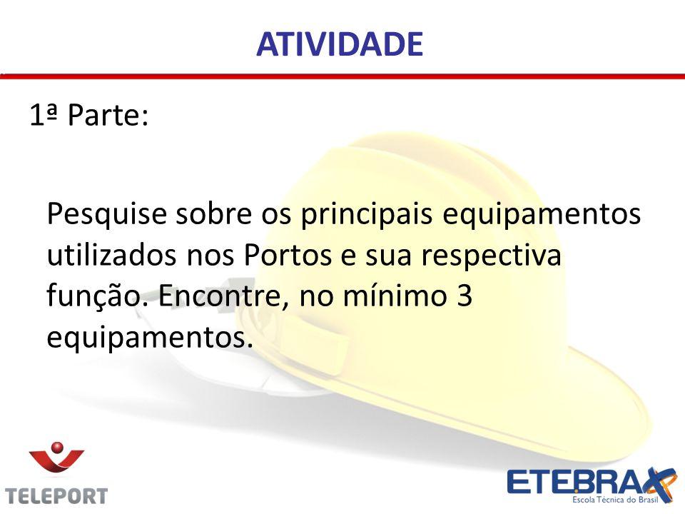 ATIVIDADE 1ª Parte: Pesquise sobre os principais equipamentos utilizados nos Portos e sua respectiva função. Encontre, no mínimo 3 equipamentos.