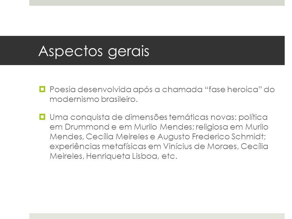 Aspectos gerais Poesia desenvolvida após a chamada fase heroica do modernismo brasileiro.