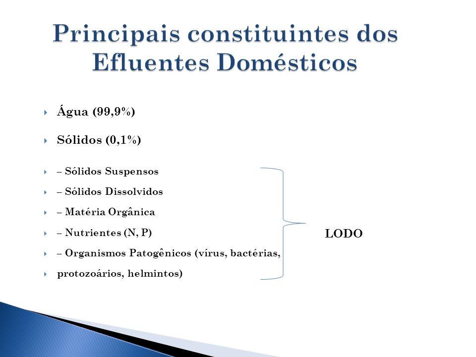 Principais constituintes dos Efluentes Domésticos