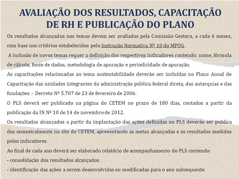AVALIAÇÃO DOS RESULTADOS, CAPACITAÇÃO DE RH E PUBLICAÇÃO DO PLANO