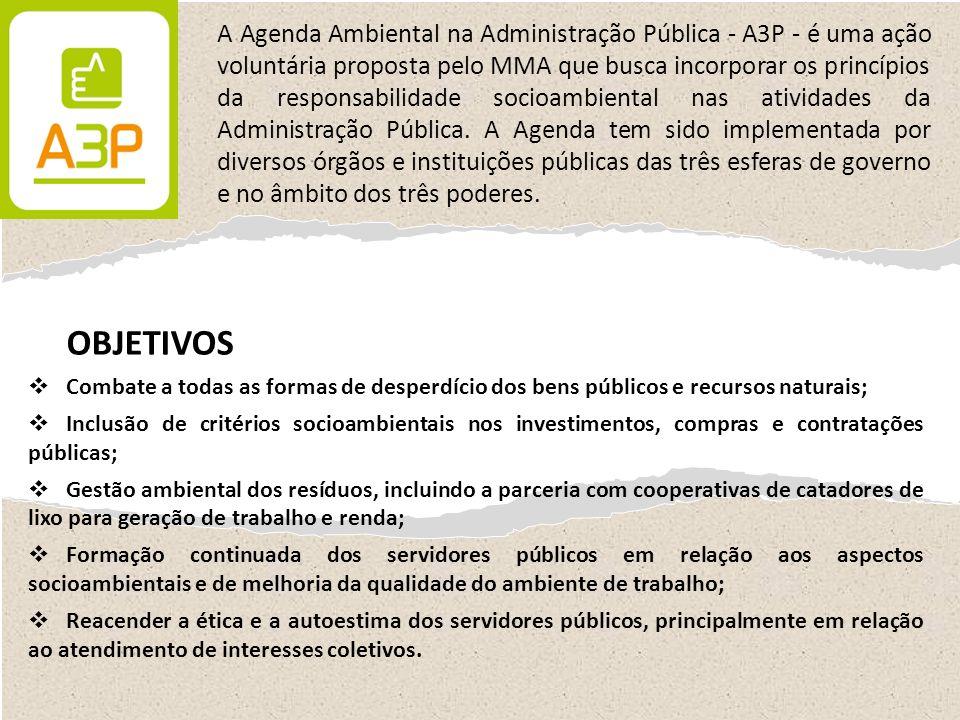 A Agenda Ambiental na Administração Pública - A3P - é uma ação voluntária proposta pelo MMA que busca incorporar os princípios da responsabilidade socioambiental nas atividades da Administração Pública. A Agenda tem sido implementada por diversos órgãos e instituições públicas das três esferas de governo e no âmbito dos três poderes.