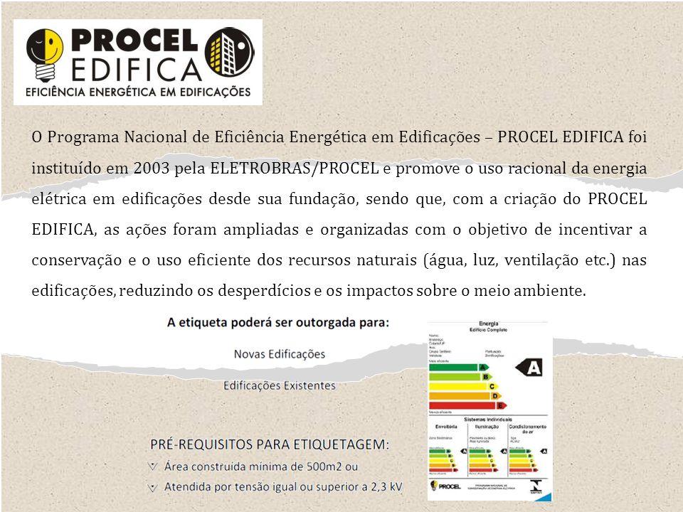 O Programa Nacional de Eficiência Energética em Edificações – PROCEL EDIFICA foi instituído em 2003 pela ELETROBRAS/PROCEL e promove o uso racional da energia elétrica em edificações desde sua fundação, sendo que, com a criação do PROCEL EDIFICA, as ações foram ampliadas e organizadas com o objetivo de incentivar a conservação e o uso eficiente dos recursos naturais (água, luz, ventilação etc.) nas edificações, reduzindo os desperdícios e os impactos sobre o meio ambiente.
