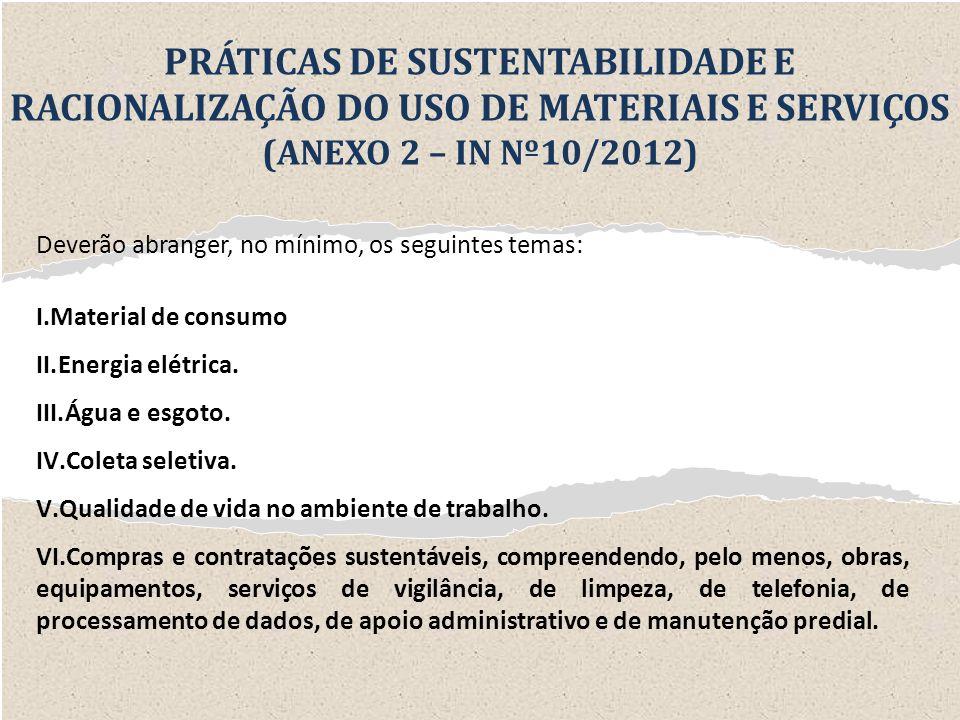 PRÁTICAS DE SUSTENTABILIDADE E RACIONALIZAÇÃO DO USO DE MATERIAIS E SERVIÇOS (ANEXO 2 – IN Nº10/2012)