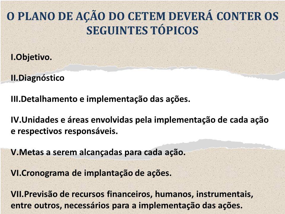 O PLANO DE AÇÃO DO CETEM DEVERÁ CONTER OS SEGUINTES TÓPICOS