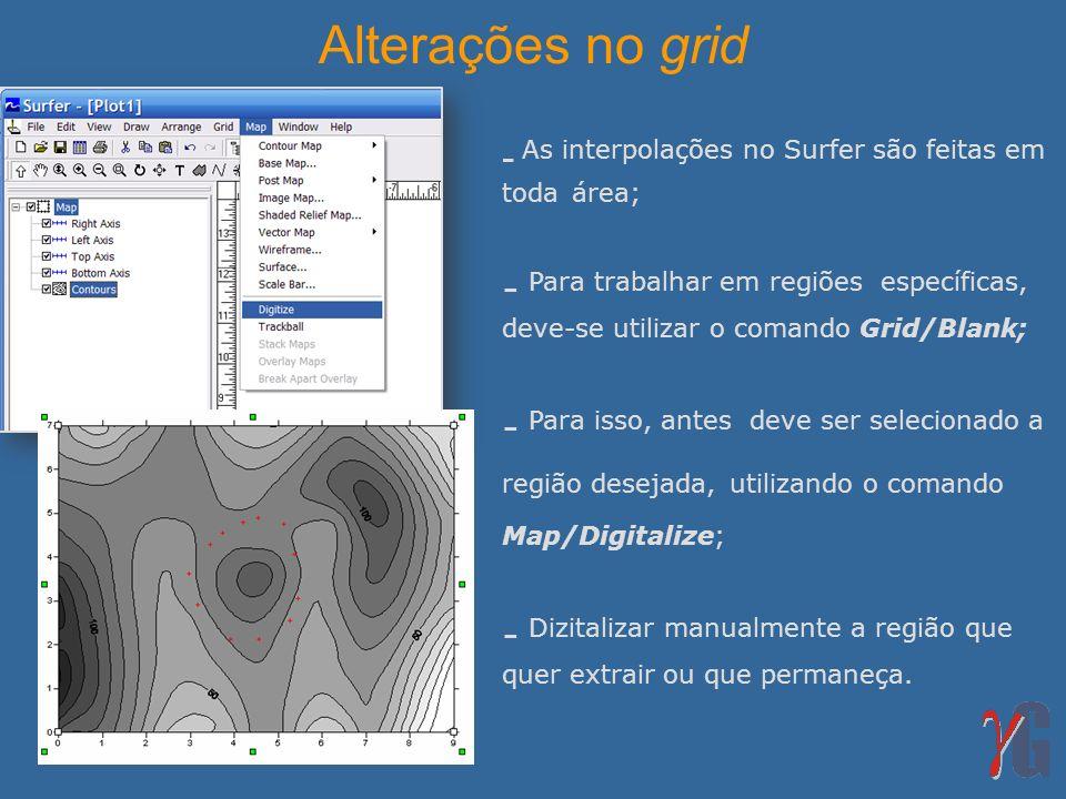 Alterações no grid As interpolações no Surfer são feitas em toda área;