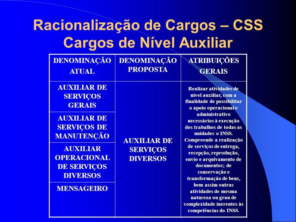 Racionalização de Cargos – CSS Cargos de Nível Auxiliar