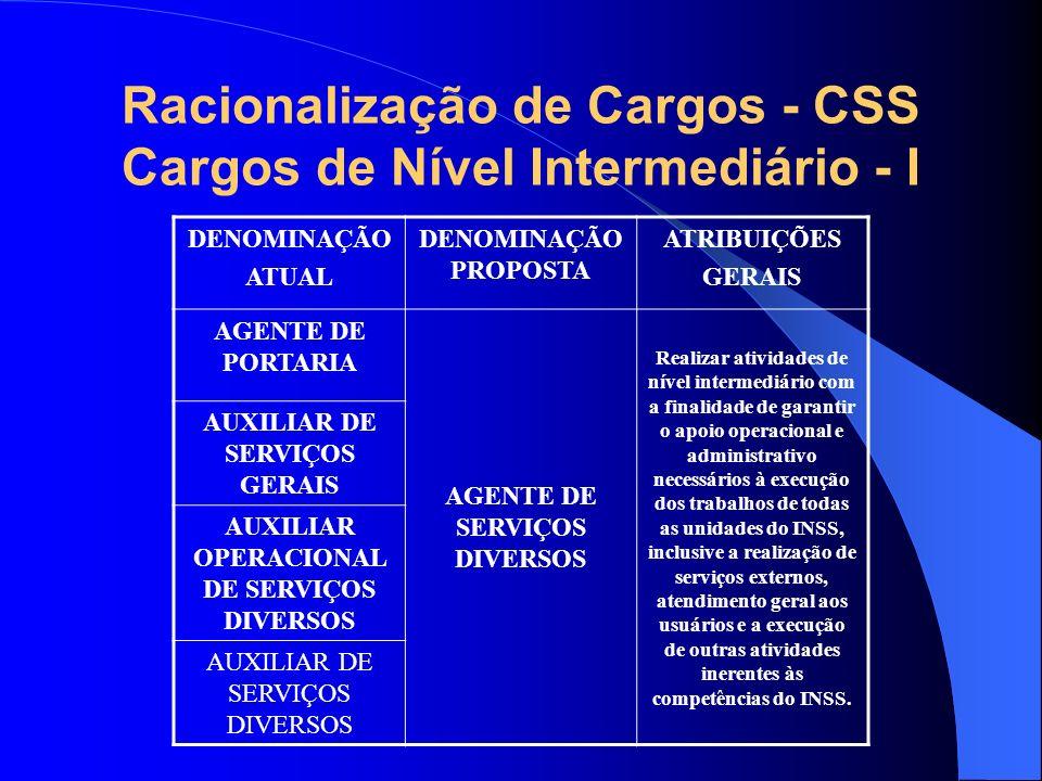 Racionalização de Cargos - CSS Cargos de Nível Intermediário - I