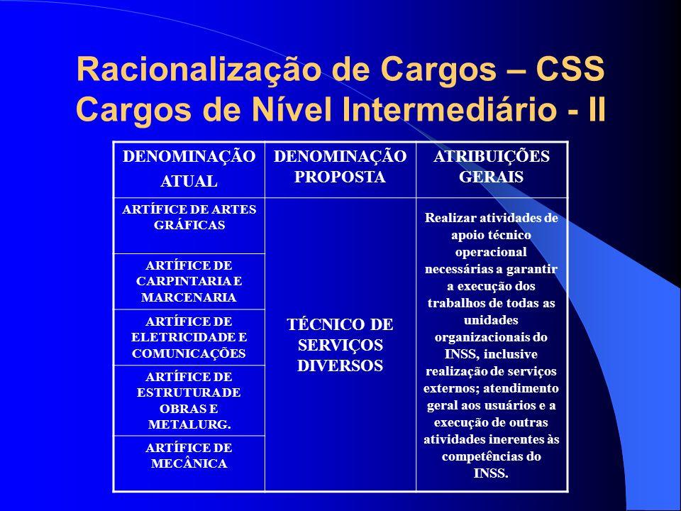 Racionalização de Cargos – CSS Cargos de Nível Intermediário - II