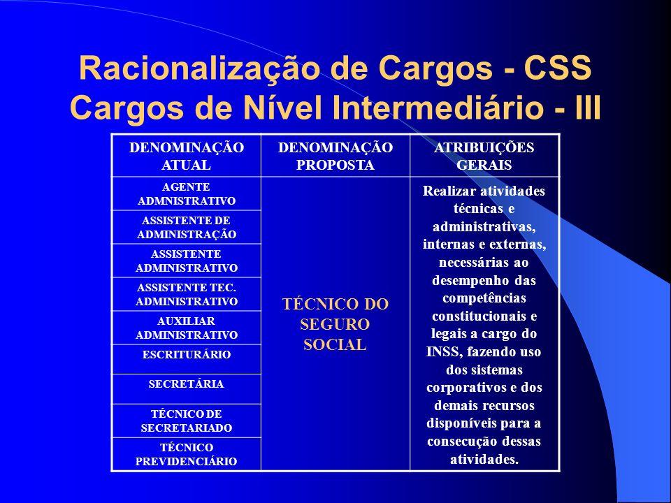 Racionalização de Cargos - CSS Cargos de Nível Intermediário - III