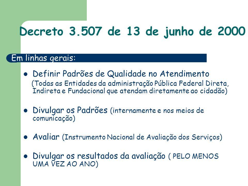 Decreto 3.507 de 13 de junho de 2000 Em linhas gerais: