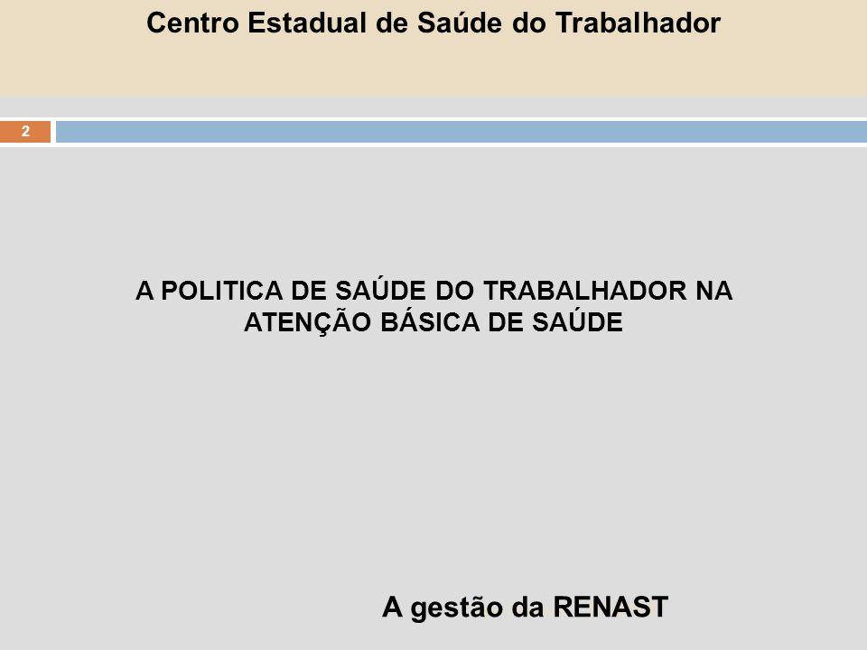A POLITICA DE SAÚDE DO TRABALHADOR NA ATENÇÃO BÁSICA DE SAÚDE