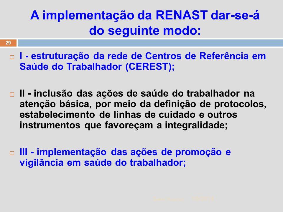 A implementação da RENAST dar-se-á do seguinte modo: