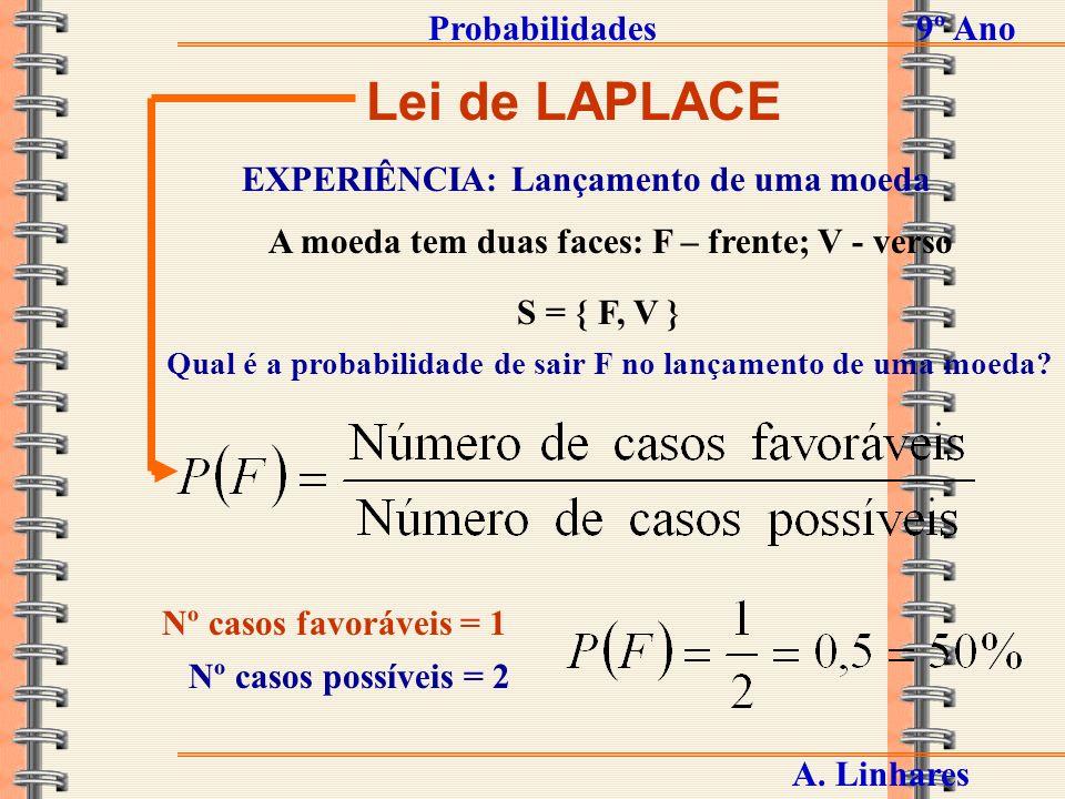 Lei de LAPLACE Probabilidades 9º Ano