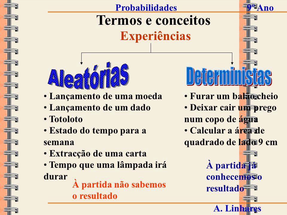Termos e conceitos Aleatórias Deterministas Experiências