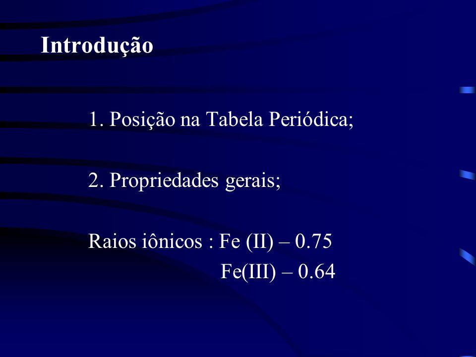 Introdução 1. Posição na Tabela Periódica; 2. Propriedades gerais;