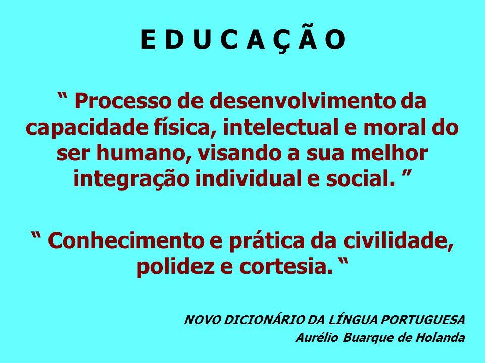Conhecimento e prática da civilidade, polidez e cortesia.