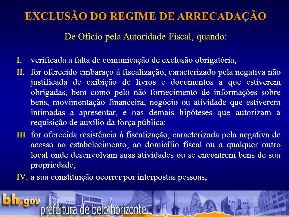 EXCLUSÃO DO REGIME DE ARRECADAÇÃO