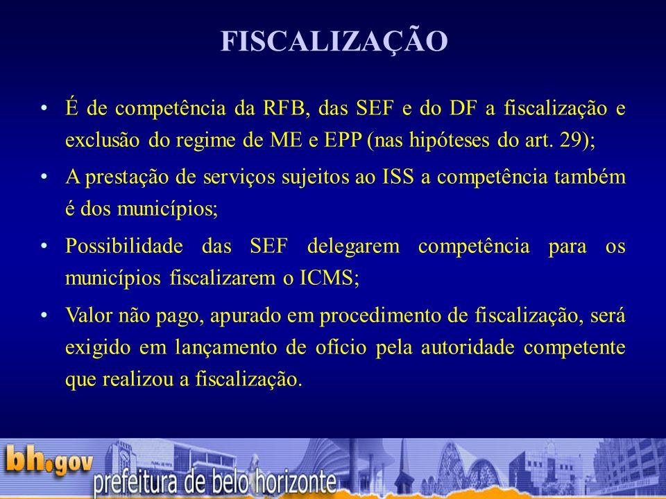 FISCALIZAÇÃO É de competência da RFB, das SEF e do DF a fiscalização e exclusão do regime de ME e EPP (nas hipóteses do art. 29);