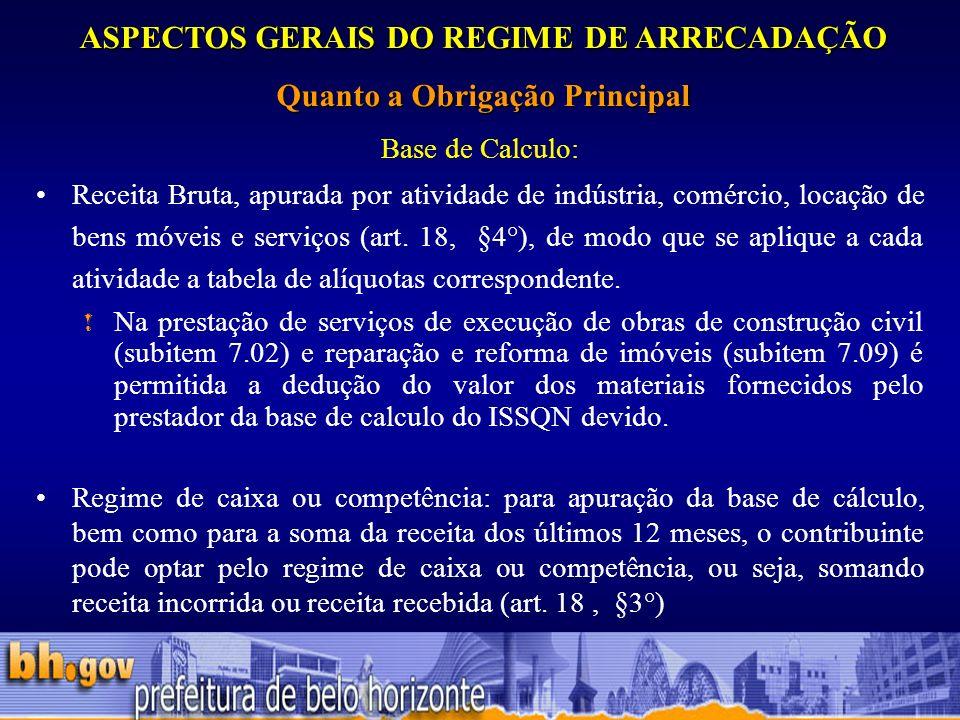 ASPECTOS GERAIS DO REGIME DE ARRECADAÇÃO Quanto a Obrigação Principal