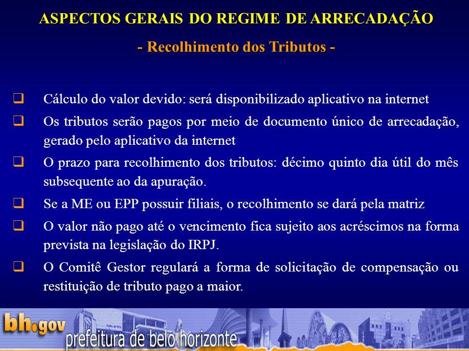 ASPECTOS GERAIS DO REGIME DE ARRECADAÇÃO - Recolhimento dos Tributos -