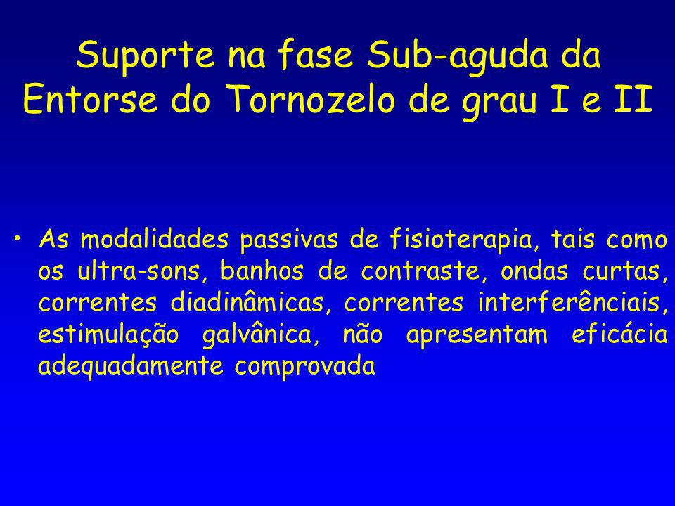Suporte na fase Sub-aguda da Entorse do Tornozelo de grau I e II