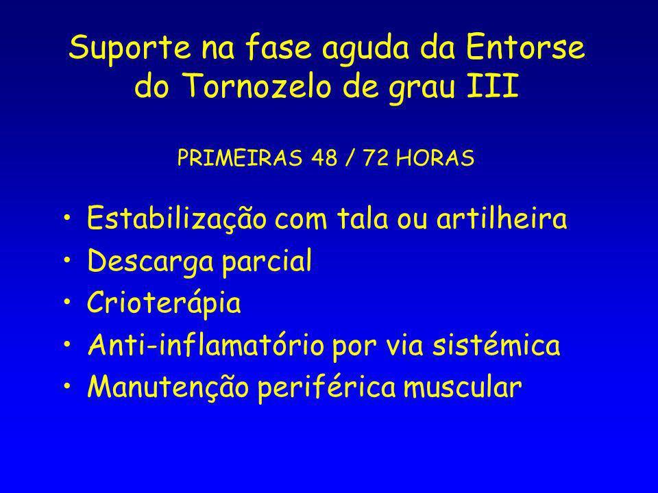 Suporte na fase aguda da Entorse do Tornozelo de grau III PRIMEIRAS 48 / 72 HORAS