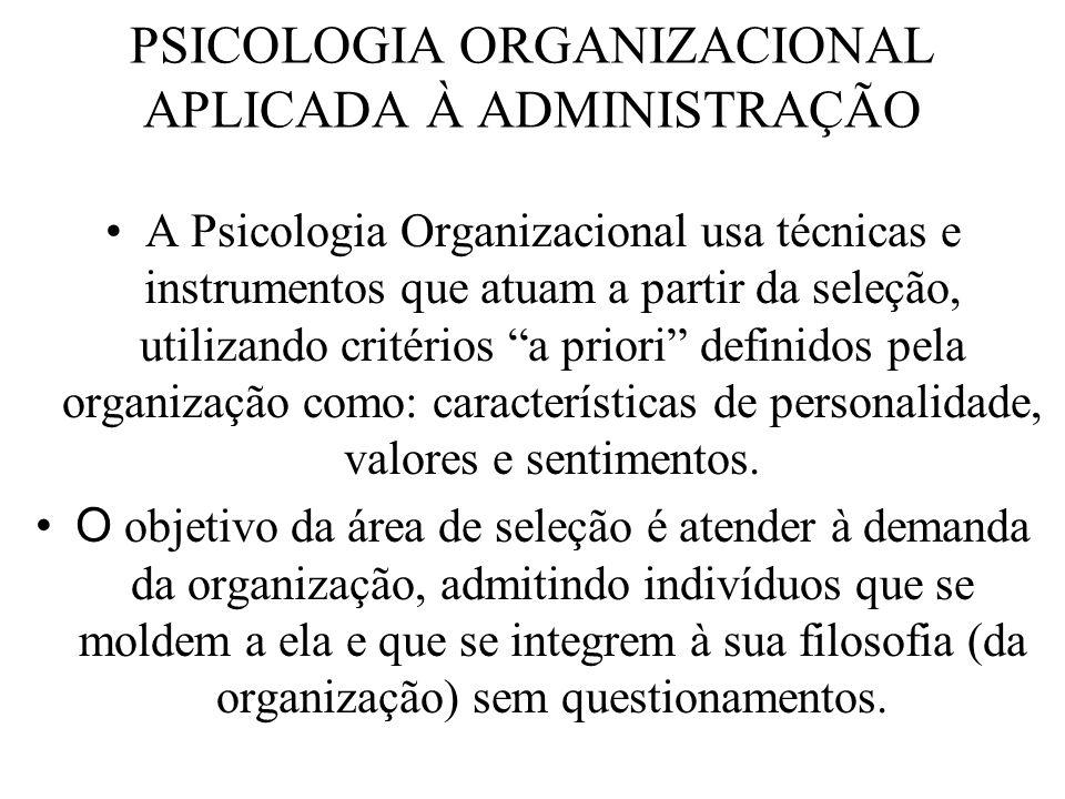 PSICOLOGIA ORGANIZACIONAL APLICADA À ADMINISTRAÇÃO