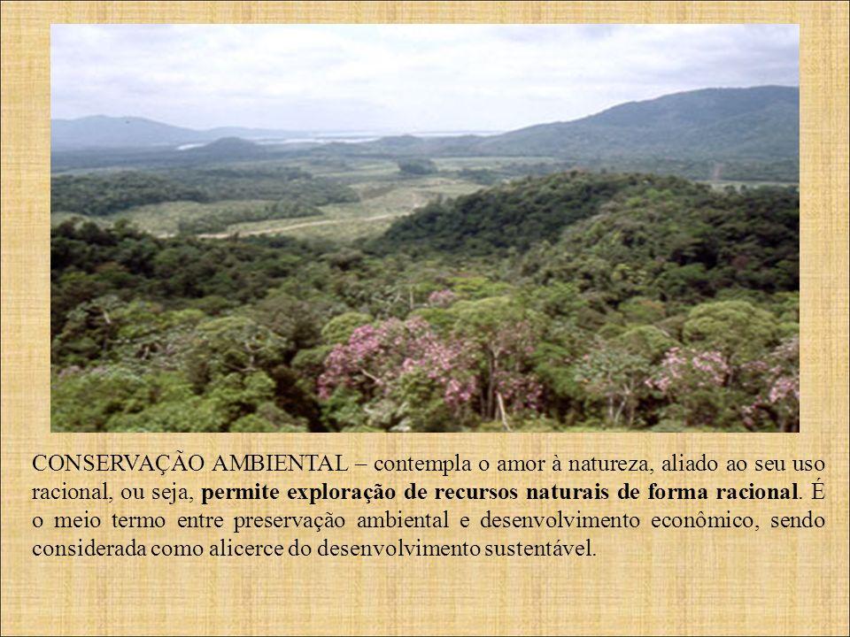 CONSERVAÇÃO AMBIENTAL – contempla o amor à natureza, aliado ao seu uso racional, ou seja, permite exploração de recursos naturais de forma racional.